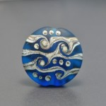 Blue Etched Lentil bead